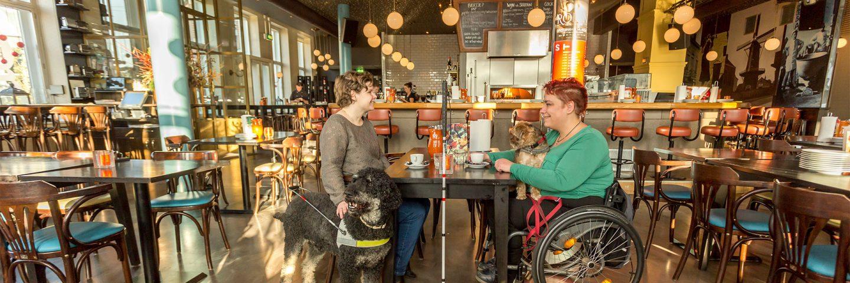 vrouw met blindegeleidehond en vrouw in rolstoel in café